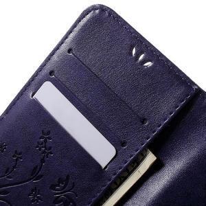 Butterfly PU kožené puzdro pre Samsung Galaxy J5 - fialové - 5