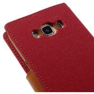 Canvas PU kožené/textilné puzdro pre Samsung Galaxy J5 (2016) - červené - 5