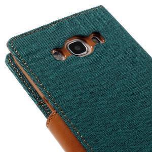 Canvas PU kožené/textilné puzdro pre Samsung Galaxy J5 (2016) - zelenomodré - 5