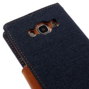 Canvas PU kožené/textilné puzdro pre Samsung Galaxy J5 (2016) - tmavomodré - 5