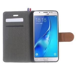Denim peňaženkové puzdro pre Samsung Galaxy J5 (2016) - šedé - 5