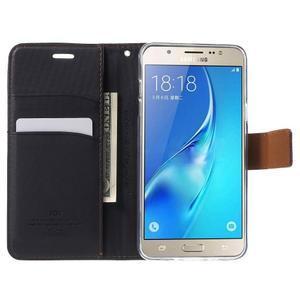 Gentle PU kožené peňaženkové puzdro pre Samsung Galaxy J5 (2016) - čierne - 5
