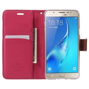 Gentle PU kožené peňaženkové puzdro pre Samsung Galaxy J5 (2016) - rose - 5