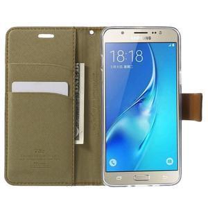 Gentle PU kožené peňaženkové puzdro pre Samsung Galaxy J5 (2016) - khaki - 5
