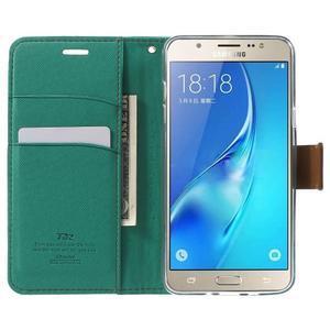Gentle PU kožené peňaženkové puzdro pre Samsung Galaxy J5 (2016) - zelenomodré - 5