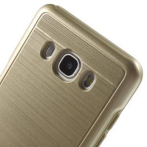 Gélový obal s plastovou výstuhou pre Samsung Galaxy J5 (2016) - zlatý - 5