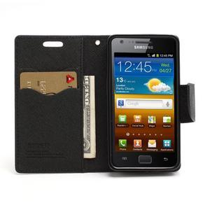 Diary PU kožené puzdro pre mobil Samsung Galaxy S2 - čierne - 5