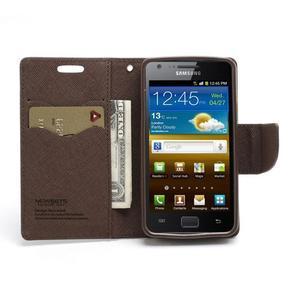 Diary PU kožené puzdro pre mobil Samsung Galaxy S2 - čierne/hnedé - 5