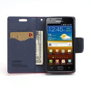 Diary PU kožené pouzdro na mobil Samsung Galaxy S2 - červené - 5