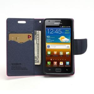 Diary PU kožené puzdro pre mobil Samsung Galaxy S2 - rose - 5