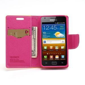Diary PU kožené puzdro pre mobil Samsung Galaxy S2 - žlté - 5