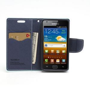 Diary PU kožené puzdro pre mobil Samsung Galaxy S2 - azúrové - 5