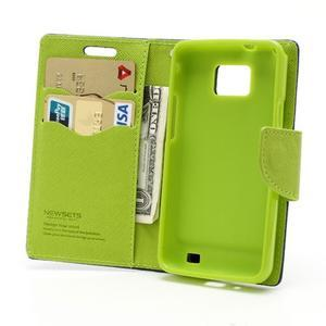 Diary PU kožené pouzdro na mobil Samsung Galaxy S2 - tmavěmodré - 5