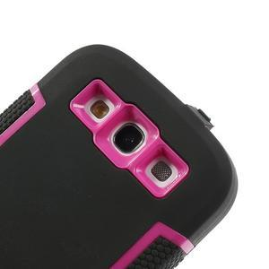Odolné silikonové pouzdro na mobil Samsung Galaxy S3 - černé/rose - 5