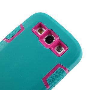 Odolné silikonové pouzdro na mobil Samsung Galaxy S3 - modré/rose - 5