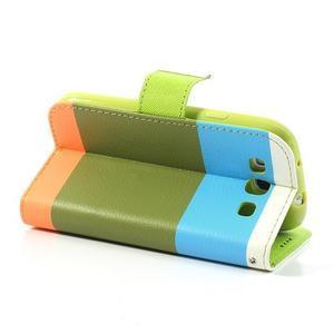 Tricolors PU kožené pouzdro na mobil Samsung Galaxy S3 - zelený střed - 5