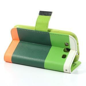 Tricolors PU kožené puzdro pre mobil Samsung Galaxy S3 - tmavozelený stred - 5