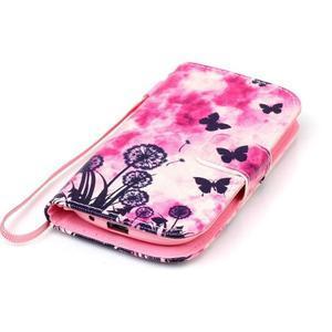 Knížkové PU kožené puzdro pre Samsung Galaxy S3 mini - motýle - 5