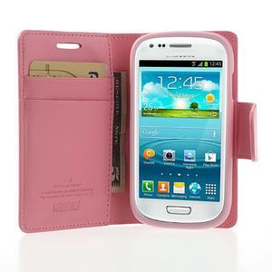 Diary PU kožené pouzdro na Samsung Galaxy S3 mini - růžové - 5