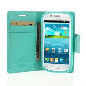 Diary PU kožené puzdro pre Samsung Galaxy S3 mini - azúrové - 5