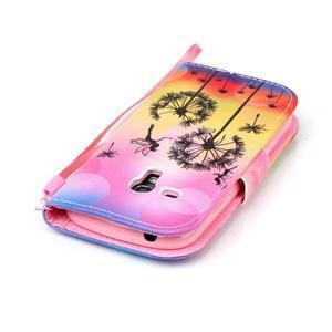 Knížkové PU kožené pouzdro na Samsung Galaxy S3 mini - pampelišky - 5
