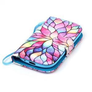Knížkové PU kožené puzdro pre Samsung Galaxy S3 mini - farebné kvety - 5