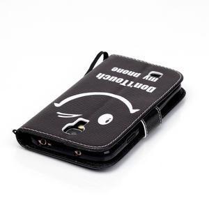 Knížkové koženkové puzdro pre Samsung Galaxy S4 - nedotýkať sa - 5