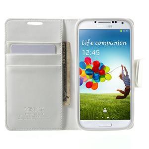 Diary PU kožené puzdro pre mobil Samsung Galaxy S4 - biele - 5
