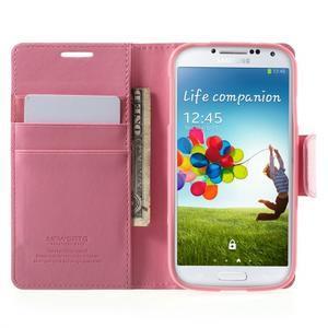 Diary PU kožené puzdro pre mobil Samsung Galaxy S4 - ružové - 5
