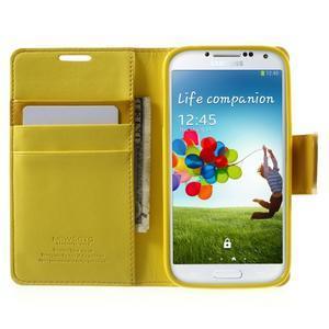 Diary PU kožené puzdro pre mobil Samsung Galaxy S4 - žlté - 5