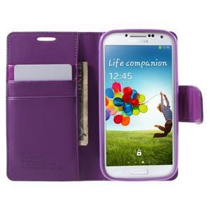 Diary PU kožené puzdro pre mobil Samsung Galaxy S4 - fialové - 5
