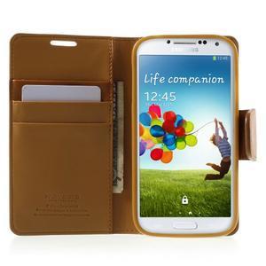 Diary PU kožené puzdro pre mobil Samsung Galaxy S4 - hnedé - 5