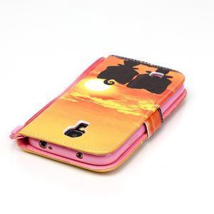 Knížkové koženkové puzdro pre Samsung Galaxy S4 - sunrise - 5