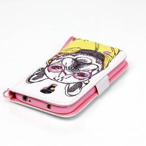 Knížkové koženkové puzdro pre Samsung Galaxy S4 - buldog - 5