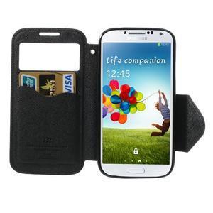 Okýnkové peňaženkové puzdro pre mobil Samsung Galaxy S4 - čierne - 5