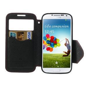 Okýnkové peňaženkové puzdro pre mobil Samsung Galaxy S4 - červené - 5