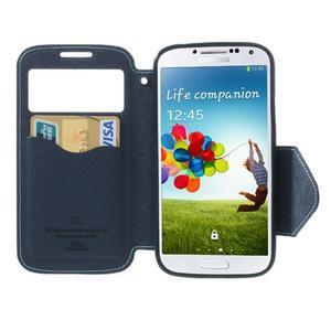Okýnkové peňaženkové puzdro pre mobil Samsung Galaxy S4 - svetlomodré - 5