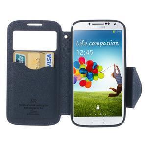 Okýnkové peňaženkové puzdro pre mobil Samsung Galaxy S4 - fialové - 5