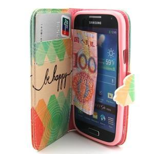 Diaryleather puzdro pre mobil Samsung Galaxy S4 mini - be happy - 5