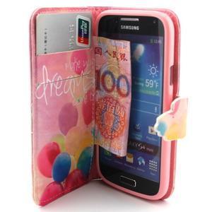 Diaryleather pouzdro na mobil Samsung Galaxy S4 mini - balónky - 5