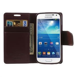 Sonata PU kožené pouzdro na mobil Samsung Galaxy S4 mini - vínové - 5