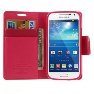 Sonata PU kožené pouzdro na mobil Samsung Galaxy S4 mini - rose - 5