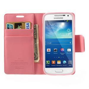 Sonata PU kožené pouzdro na mobil Samsung Galaxy S4 mini - růžové - 5