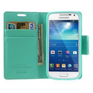 Sonata PU kožené pouzdro na mobil Samsung Galaxy S4 mini - azurové - 5