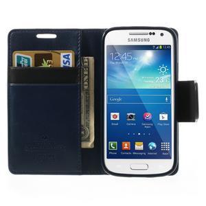 Sonata PU kožené puzdro pre mobil Samsung Galaxy S4 mini - tmavomodré - 5
