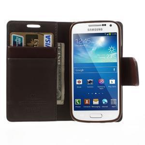 Sonata PU kožené puzdro pre mobil Samsung Galaxy S4 mini - hnedé - 5
