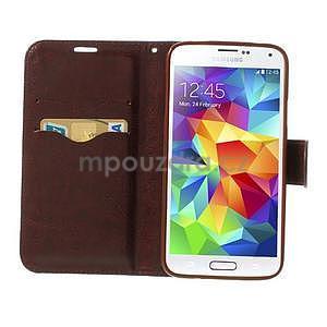 Jeans peňaženkové puzdro pre mobil Samsung Galaxy S5 - čiernomodré - 5