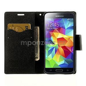 Diary peňaženkové puzdro pre Samsung Galaxy S5 - čierne - 5