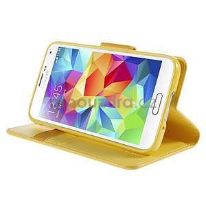 Elegantní peňaženkové puzdro pre Samsung Galaxy S5 - žlté - 5