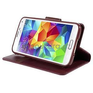 Elegantní peňaženkové puzdro pre Samsung Galaxy S5 - vínové - 5